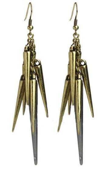 Gold Chain Spike Dangle Earrings