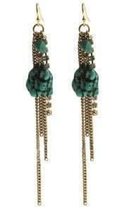 Green Stone Gold Chain Tassel Dangle Earrings