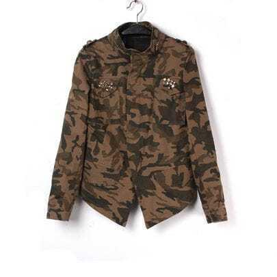 Camouflage Long Sleeve Rhinestone Epaulet Coat