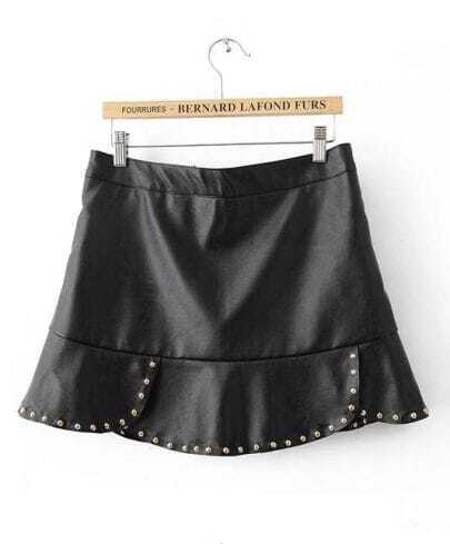 Black Rivet Ruffles PU Leather Skirt