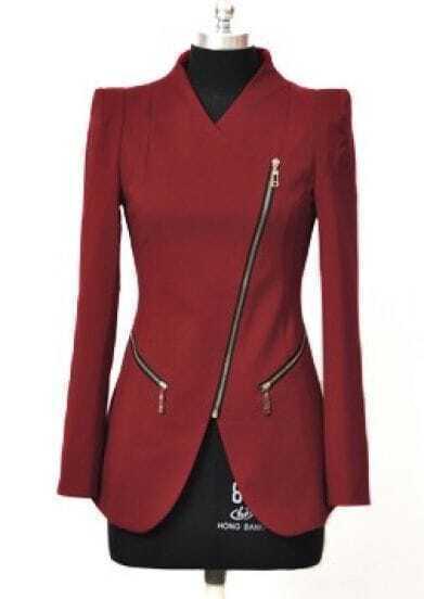 Wine Red Lapel Long Sleeve Zipper Shoulder Pads Suit