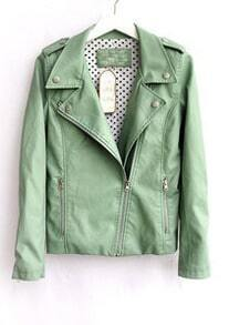Green Lapel Long Sleeve Zipper PU Leather Jacket