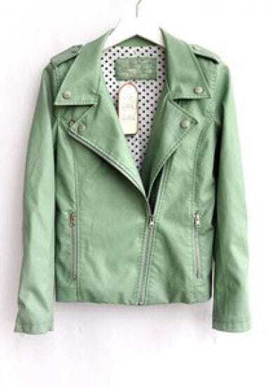 Green Lapel Long Sleeve Zipper PU Leather Jacket -SheIn(Sheinside)