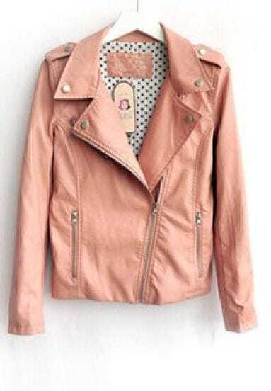 Pink Lapel Long Sleeve Zipper PU Leather Jacket