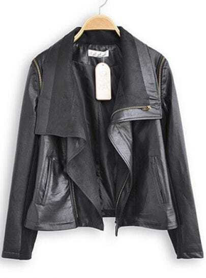 Black Lapel Long Sleeve Zipper Leather Jacket