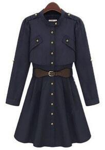 Navy Long Sleeve Band Collar Belt Waist Buttons Coat