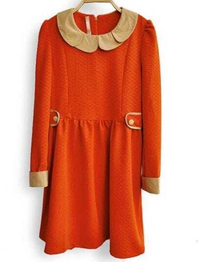 Orange Long Sleeve Buttons Embellished Pleated Dress