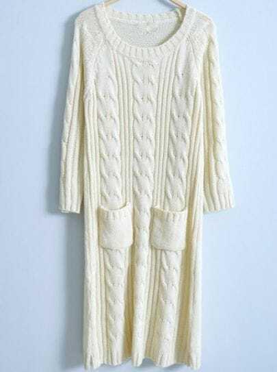 Beige Long Sleeve Pockets Embellished Dress