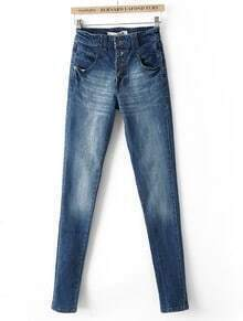 Blue High Waist Four Buttons Denim Pant