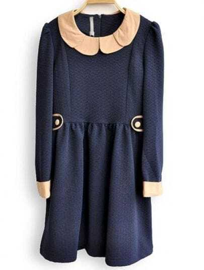Navy Long Sleeve Buttons Embellished Pleated Dress