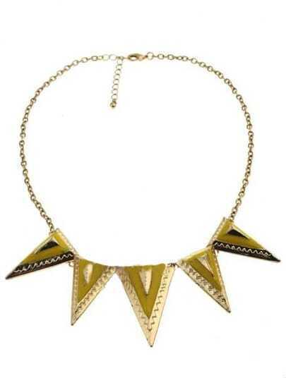 Gold Triangular Pyramid Necklace