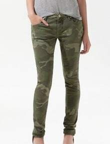 Green Camouflage Casual Rivet Pant