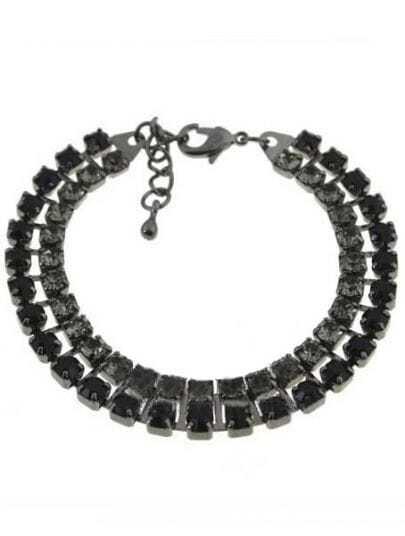 Black Geometric Embroidery Splice Link Bracelet