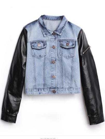 Blue Contrast Leather Long Sleeve Crop Denim Coat