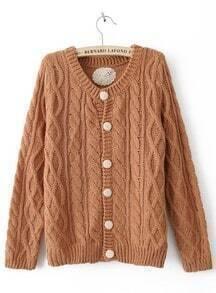 Coffee Long Sleeve Single Breasted Cardigan Sweater