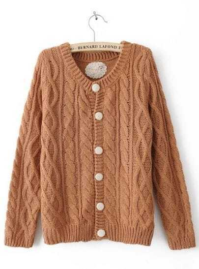 Coffee Long Sleeve Single Breasted Cardigan Sweater