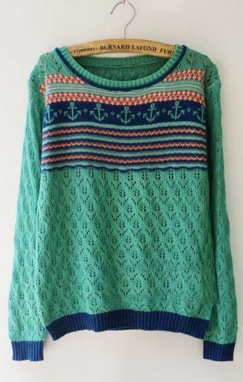 Green Long Sleeve Tribal Print Hollow Sweater