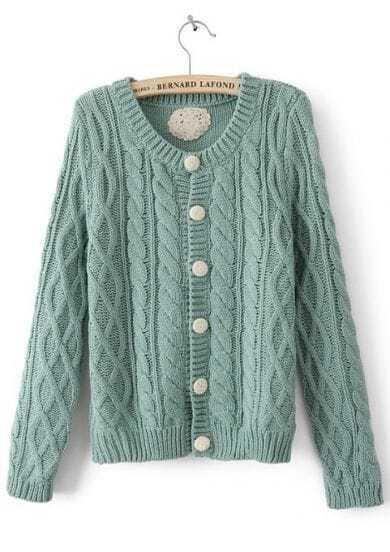 Green Long Sleeve Single Breasted Cardigan Sweater