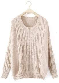 Beige Round Neck Cable Knitted Pullovers Sweater