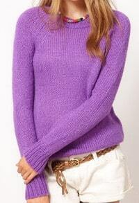 Purple Round Neck Long Sleeve Plush Pullovers Sweater