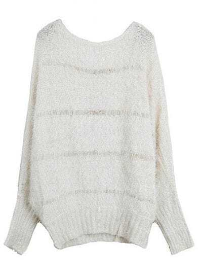 Beige Long Sleeve Mohair Pullovers Sweater