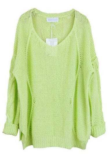 Green V Neck Long Sleeve Loose Pullovers Sweater