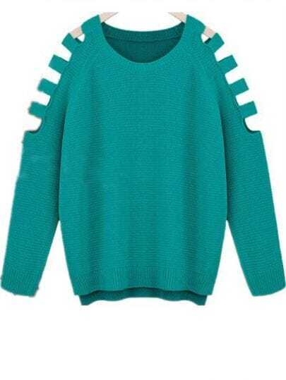 Blue Long Sleeve Ripped Loose Pullovers Sweater