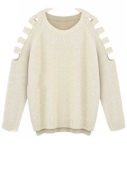 Beige Long Sleeve Ripped Loose Pullovers Sweater