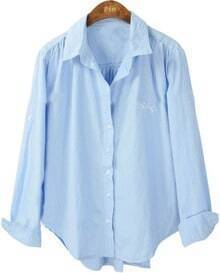 Blue Lapel Long Sleeve Hollow Embroidery Blouse