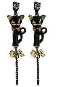 Black Cat Crystal Bow Stud Earrings