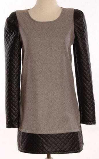 Grey Contrast Leather Long Sleeve Shoulder Pads Dress