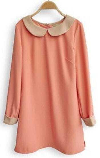 Pink Lapel Long Sleeve Back Zipper Dress