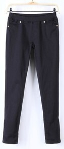 Black Skinny Low Waist Side Zipper Pockets Pant