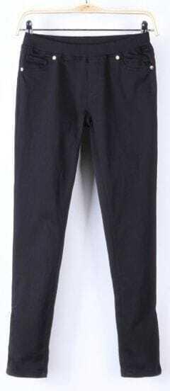 Black Skinny Low Waist Side Zipper Pockets Pant