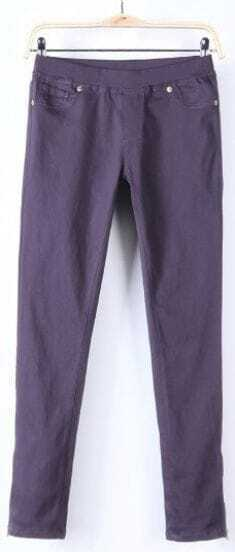 Purple Skinny Low Waist Side Zipper Pockets Pant