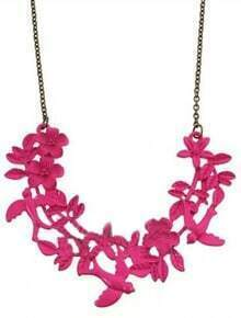 Pink Fluorescence Flowers Birds Long Necklace