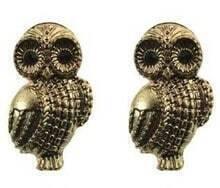 Gold Owl Stud Earrings