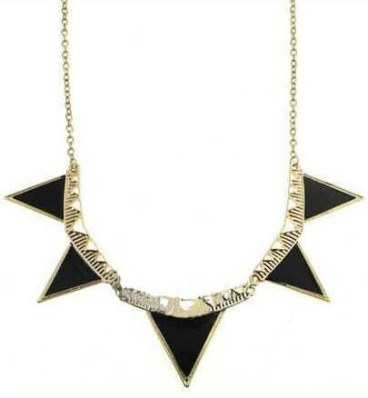 Black Symmetry Triangle Gold Chain Necklace