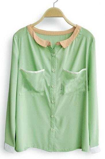 Light Green Long Sleeve Contrast Trims Pockets Blouse