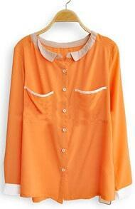 Orange Long Sleeve Contrast Trims Pockets Blouse
