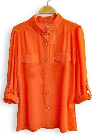 Orange Long Sleeve Pockets Buttons Embellished Blouse