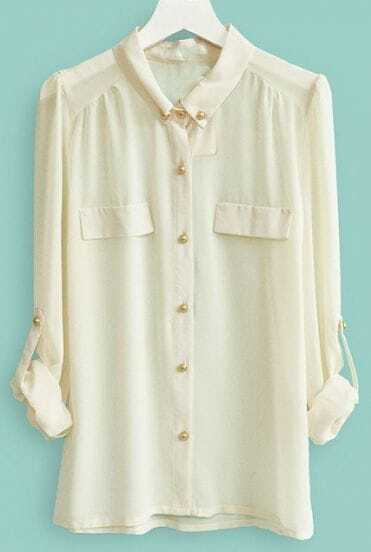 Beige Long Sleeve Pockets Buttons Embellished Blouse