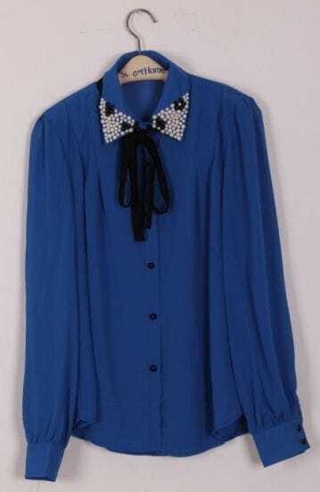 Blue Pearls Lapel Long Sleeve Bow Chiffon Blouse