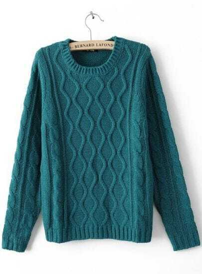 Green Round Neck Long Sleeve Pullovers Sweater