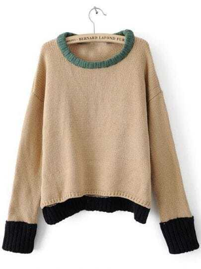 Khaki Long Sleeve Contrast Trims Pullovers Sweater