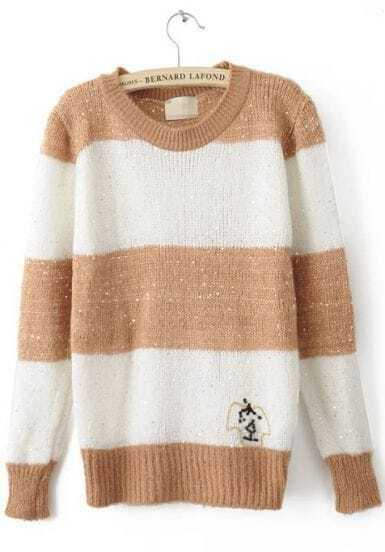 Khaki White Striped Long Sleeve Pullovers Sweater