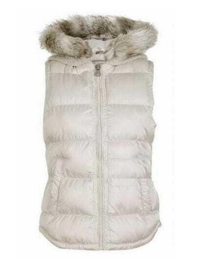White Removable Hooded Sleeveless Vest Coat