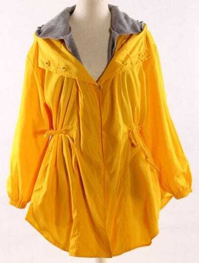 Yellow Hooded Long Sleeve Drawstring Trench Coat