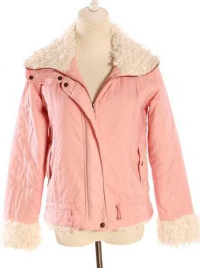 Pink Fur Lapel Long Sleeve Zipper Coat