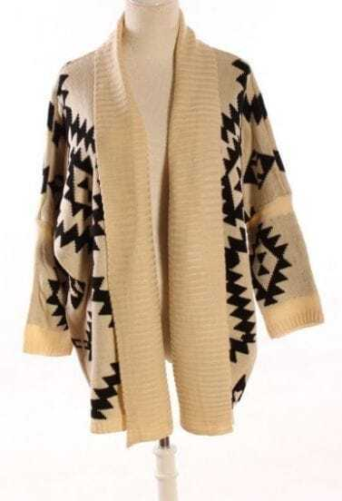 Apricot Batwing Long Sleeve Geometric Cardigan Sweater